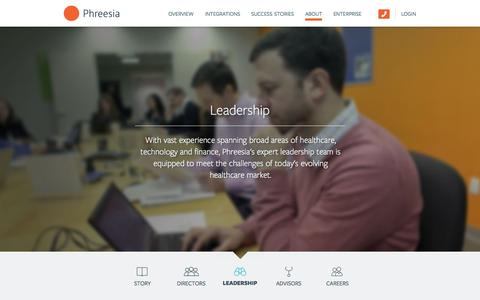 Screenshot of Team Page phreesia.com - About: Leadership — Phreesia.com - captured June 16, 2015