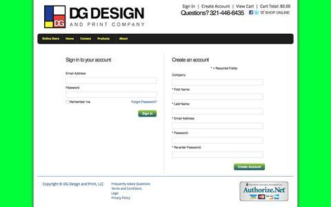 Screenshot of Login Page vcgstores.com - Account Login - DG Design and Print, LLC - captured Nov. 23, 2016