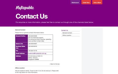 Screenshot of Contact Page myrepublic.com.sg - Contact Us | MyRepublic - Pure Freedom - captured Sept. 16, 2014
