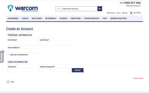 Screenshot of Signup Page warcom.com.au - Create New Customer Account - captured Jan. 15, 2016