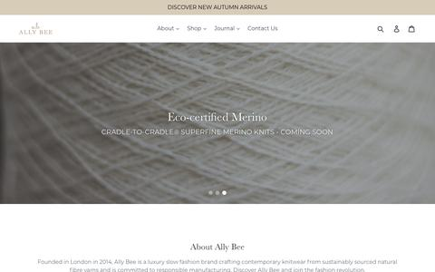 Screenshot of Home Page ally-bee.com - ALLY BEE - Luxury Sustainable Knitwear | Ethically Sourced Yarns – Ally Bee Knitwear - captured Oct. 3, 2018