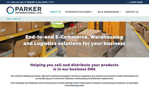 Screenshot of About Page parkerinternational.co.uk - About Us | Parker International Ltd | E-Commerce Fulfilment Services - captured Dec. 14, 2018