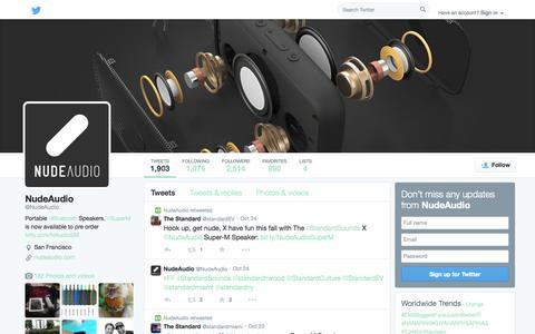 Screenshot of Twitter Page twitter.com - NudeAudio (@NudeAudio)   Twitter - captured Oct. 26, 2014