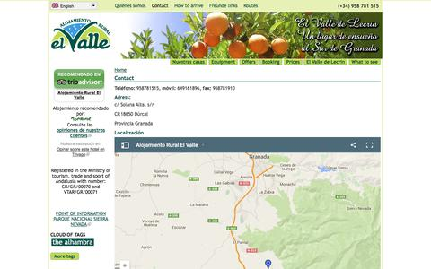 Screenshot of Contact Page alojamientoruralelvalle.com - Contact | Alojamiento rural El Valle - captured July 25, 2016