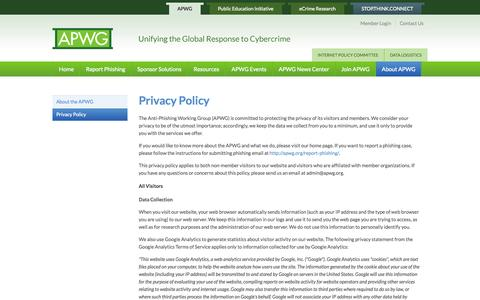 Screenshot of Privacy Page apwg.org - Privacy Policy | APWG - captured Sept. 23, 2014
