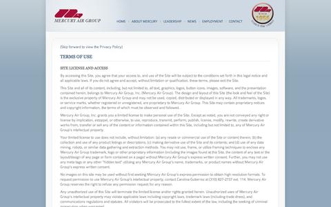 Screenshot of Privacy Page Terms Page mercuryairgroup.com - Mercury Air Group - captured Oct. 4, 2014