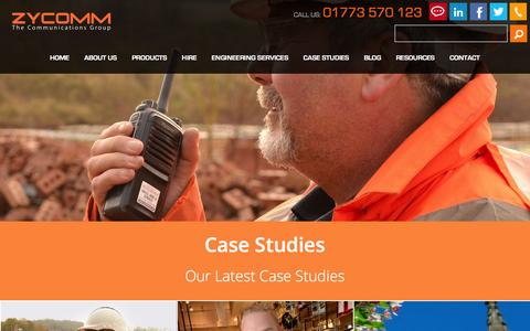 Screenshot of Case Studies Page zycomm.co.uk - Case Studies - captured March 23, 2016