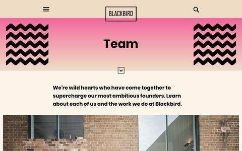 Screenshot of Team Page blackbird.vc - Team | Blackbird Ventures - captured Aug. 29, 2019