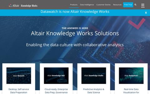 Screenshot of Products Page datawatch.com - Data Analytics Solutions | Altair Knowledge Works - captured June 28, 2019