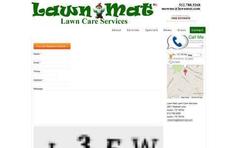 Screenshot of Contact Page lawnmat.com - Lawn-Mat Lawn Care Services - Contact   Lawn-Mat Lawn Care Services - captured Oct. 2, 2014