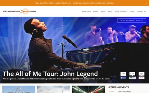 Screenshot of Home Page mmstadium.com - Moses Mabhida Stadium, Durban South Africa Moses Mabhida Stadium - captured Oct. 3, 2014
