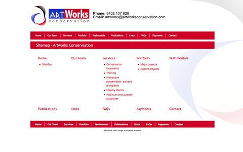 Screenshot of Site Map Page artworksconservation.com.au - Sitemap - Artworks Conservsation - captured Sept. 30, 2014