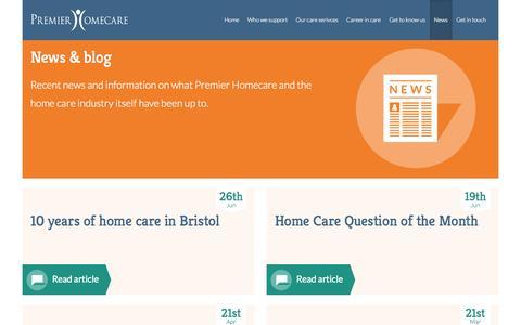 Screenshot of Press Page premier-homecare.com - News & blog | Premier Homecare - captured Oct. 28, 2014