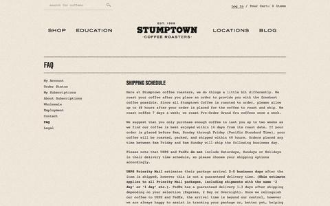 Screenshot of FAQ Page stumptowncoffee.com - FAQ - Stumptown Coffee Roasters - captured Sept. 24, 2014