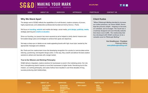 Screenshot of About Page sgd-communications.com - SG&D Communications & Design - Pittsburgh - About Us - captured Oct. 1, 2018