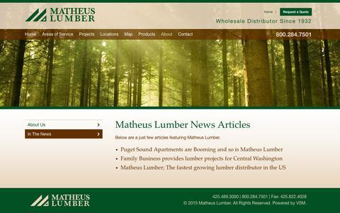 Screenshot of Press Page matheuslumber.com - Recent Articles - captured Jan. 15, 2019