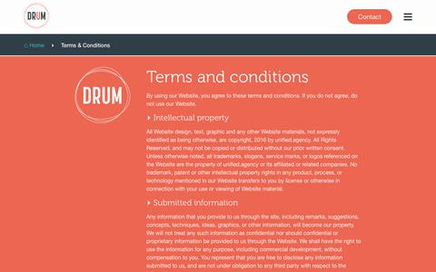 Screenshot of Terms Page umarketing.com - DRUM Agency | Terms & Conditions - captured July 26, 2018