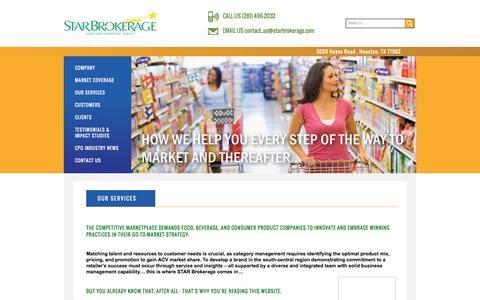 Screenshot of Services Page starbrokerage.com - Star Brokerage | sales, marketing, and retail services - captured Dec. 2, 2016
