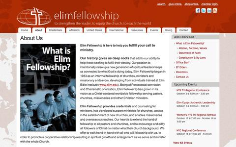 Screenshot of About Page elimfellowship.org - About Us - Elim Fellowship - captured Sept. 29, 2014