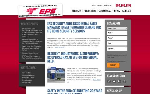 Screenshot of Press Page epssecurity.com - Blog, Press Releases, Newsletters and Security Alarm News | EPS - captured Oct. 1, 2014
