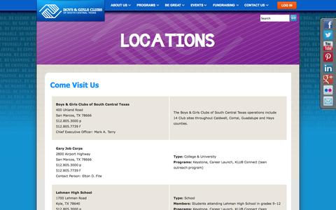 Screenshot of Locations Page bgcsct.org - Extensions «  Boys & Girls Clubs of South Central Texas - captured Oct. 5, 2014