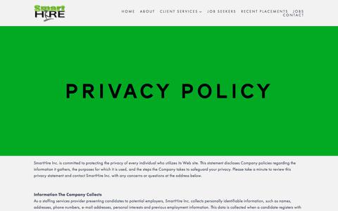Screenshot of Privacy Page smarthireinc.com - Privacy Policy | SmartHire - captured July 28, 2018