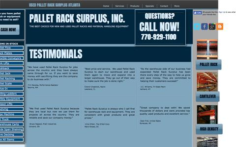 Screenshot of Testimonials Page palletracksurplus.com - Pallet Rack Surplus, Inc. - Testimonials - captured May 14, 2017