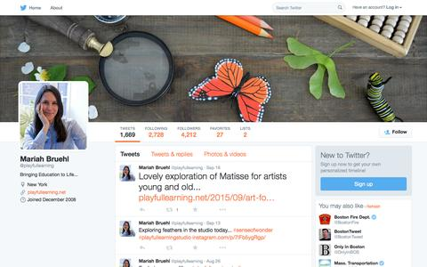 Screenshot of Twitter Page twitter.com - Mariah Bruehl (@playfullearning) | Twitter - captured Oct. 1, 2015
