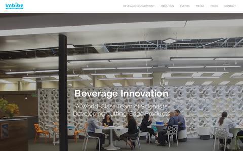Screenshot of Home Page imbibeinc.com - Beverage Innovation | Imbibe - captured Sept. 24, 2018