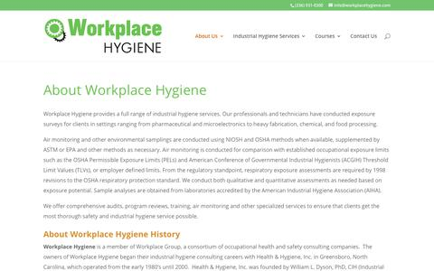 Screenshot of About Page workplace-hygiene.com - About Workplace Hygiene - Workplace Hygiene - captured Sept. 24, 2018