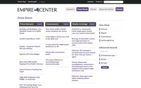 Screenshot of Press Page empirecenter.org - Press Room     :    Empire Center for Public Policy - captured July 30, 2017