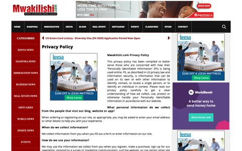 Screenshot of Privacy Page mwakilishi.com - Privacy Policy | Mwakilishi.com - captured Oct. 5, 2018