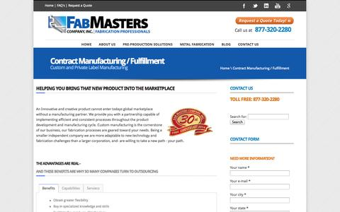 Screenshot of Products Page fabmasters.net - Contract Manufacturing Services Michigan | Fab Masters - captured Oct. 5, 2014
