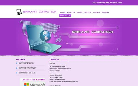 Screenshot of Contact Page sriraam.co.in - Contact Us - captured Oct. 6, 2014