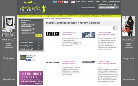 Screenshot of Press Page babyfriendlyboltholes.co.uk - Baby-Friendly Boltholes, Child Friendly Accommodation UK, Europe and Worldwide - captured Sept. 22, 2014