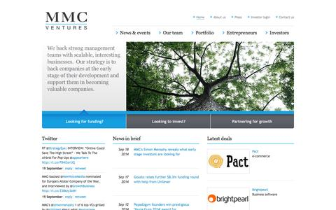 Screenshot of Home Page mmcventures.com - MMC - captured Sept. 23, 2014