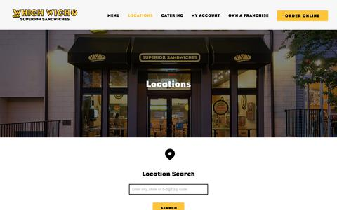 Screenshot of Locations Page whichwich.com - Which Wich® Store Locations | Which Wich Superior Sandwiches - captured Sept. 28, 2018