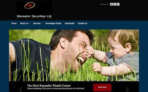 Screenshot of Home Page manashvi.com - Welcome To Manashvi - captured Feb. 29, 2016