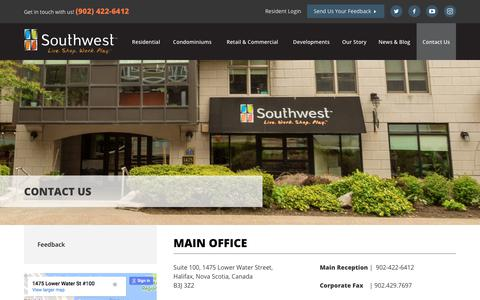Screenshot of Contact Page southwest.ca - Contact Us   Southwest Properties - captured Nov. 8, 2017