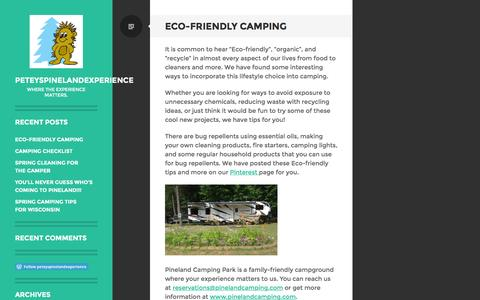 Screenshot of Blog wordpress.com - peteyspinelandexperience | Where the experience matters. - captured Jan. 28, 2016