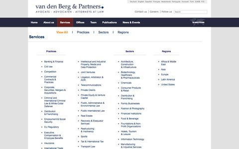 Screenshot of Services Page vandenberg-law.eu - Van den Berg & Partners - captured Oct. 27, 2014