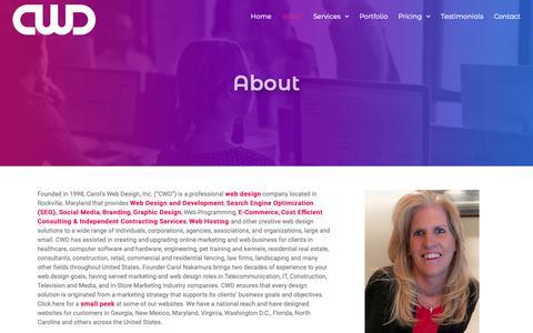 Screenshot of About Page carolswebdesigninc.com - Maryland Web Design Development Website Designer - captured Oct. 21, 2018