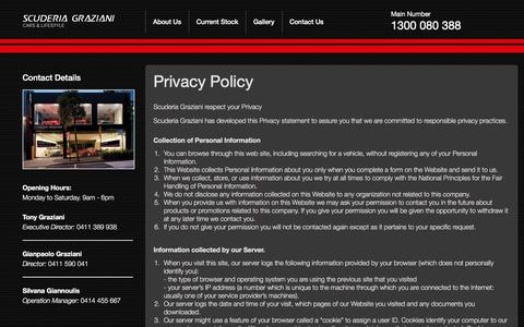 Screenshot of Privacy Page scuderiagraziani.com - Privacy Policy - captured Jan. 12, 2016