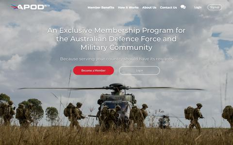 Screenshot of Home Page apod.com.au - Join APOD - Australia's Largest Military and Defence Community Program - captured April 19, 2018