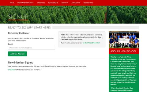 Screenshot of Signup Page woodmtn.com - Wood Mountain Christmas Trees - captured Oct. 18, 2018