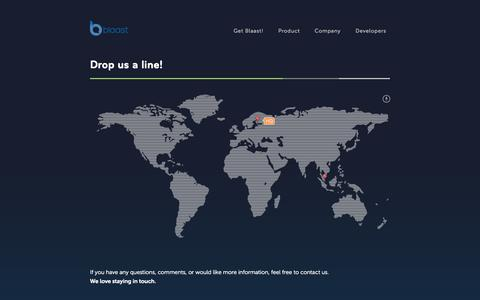 Screenshot of Contact Page blaast.com - Blaast - captured Sept. 13, 2014
