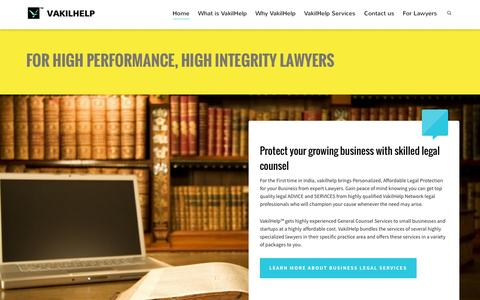 Screenshot of Home Page vakilhelp.com - VakilHelp | Legal Advice from Outstanding Lawyers - captured Aug. 12, 2015