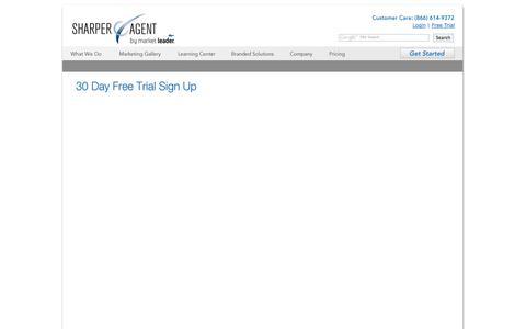 Screenshot of Trial Page sharperagent.com - Sign Up: SharperAgent - captured Oct. 24, 2014