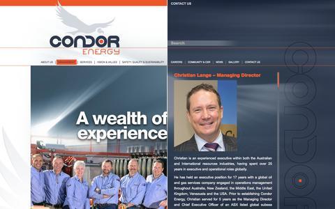 Screenshot of Team Page condorenergy.com.au - Management | Condor Energy - captured Oct. 2, 2014