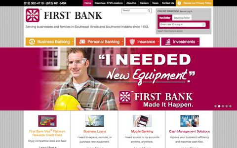 Screenshot of Home Page firstbank.bz - First Bank | Serving businesses and families in Southeast Illinois and Southwest Indiana since 1893. - captured Sept. 26, 2015